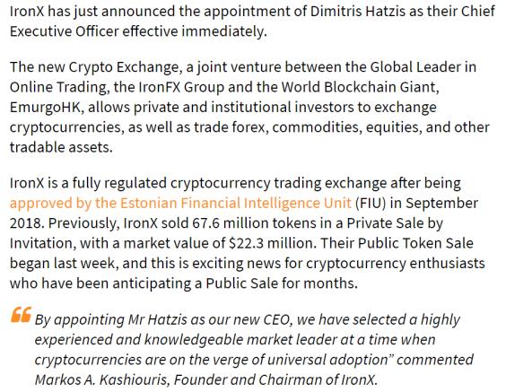 Iron X press release